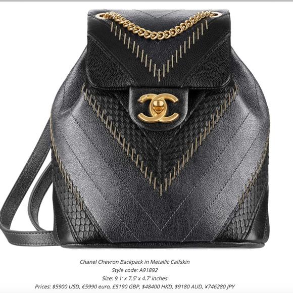 2bbe78705b01 CHANEL Bags | Chevron Backpack In Metallic Calfskin Rare | Poshmark